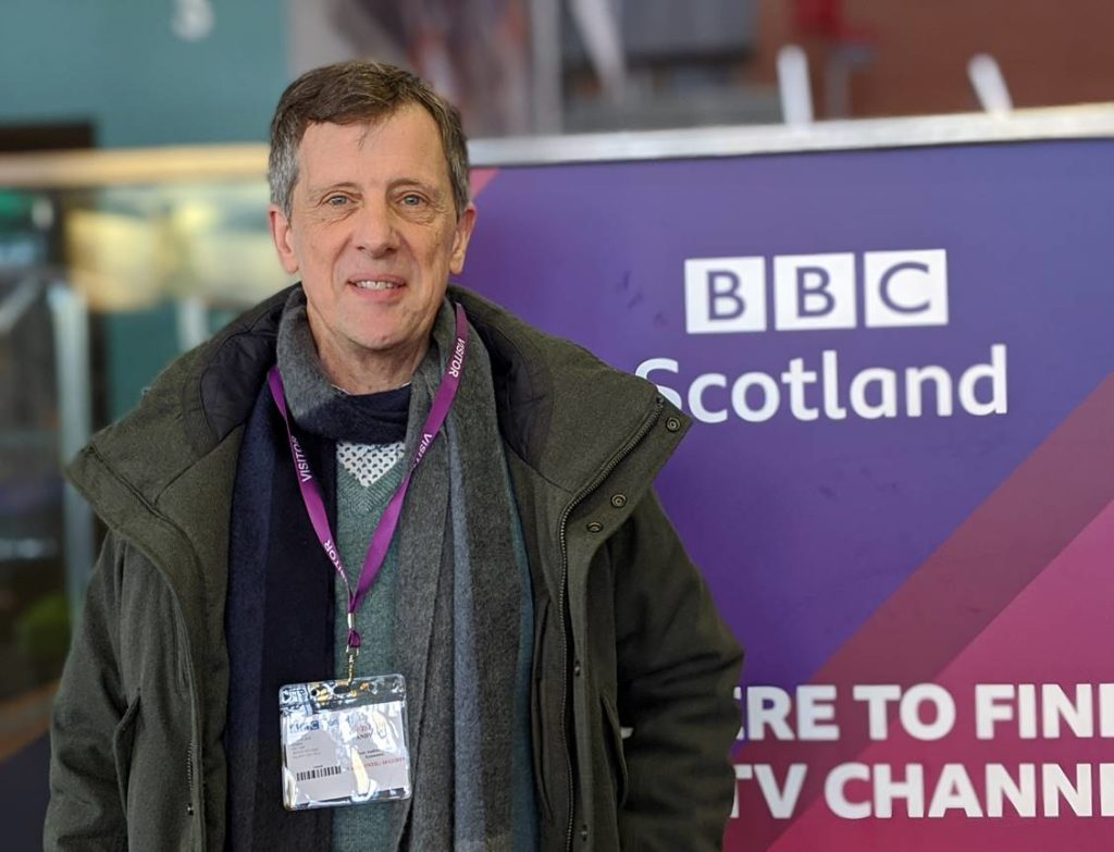 ALoch Duart Sales Director Andy Bing, at BBC Scotland studios in December 2019 to record radio interview on extension of Oritain analysis into North America.